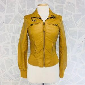 Mustard Moto Biker Jacket Faux Leather XS
